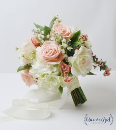 Peach Wedding Bouquet, Boho Bouquet, Silk Wedding Bouquet, Bouquet, Pink, Blush, Greenery, Silk Flower Bouquet, Bridal Bouquet, Bouquet by blueorchidcreations on Etsy