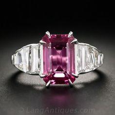 4.74 Carat Pink Sapphire Platinum and Baguette Diamond Ring