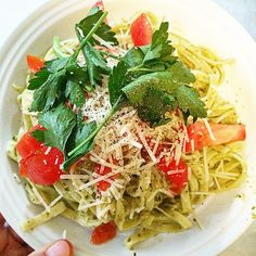 I just love to cook and eat. Mostly eat. #summer #pasta #pesto #parsley #tomato #fresh