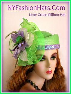 Hats Fashion Designer Women's Lime Green White Purple Pillbox KCPA