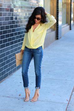Street Style fashion heels yellow denim fashion photography
