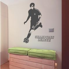 This  champions league Vinyl Wall Sticker feature a giant soccer player running with a ball and Champions League text. These removable vinyl wall decals will create a unique sports scene in your kids rooms, simply peel and stick these wall graphics to get a stylish and decorative look.$59.95