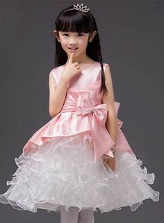 3b989b45aea1 A-Line Organza Scoop Bowknot Knee-Length Flower Girl Dress  #FlowerGirllDress Cute Flower