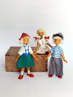 Set of 3 Vintage Wooden Dolls from Poland by TheVintageShopkeeper, $18.99