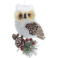 Country Rustic White Owl Christmas Ornaments - Holiday Ornament Single Pack White Christmas Ornaments, Christmas Owls, Woodland Christmas, Christmas Figurines, Christmas Tree Toppers, Christmas Home, Christmas Decorations, Owl Ornament, Rustic White