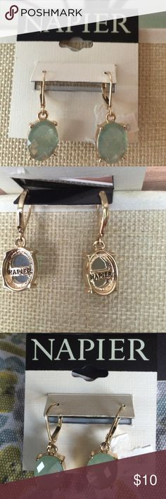 Selling this Green colored Napier earrings w gold tone setting on Poshmark! My username is: getrealclothes. #shopmycloset #poshmark #fashion #shopping #style #forsale #Napier #Jewelry
