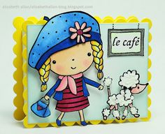 I love Mimi stamps. On this card, i I like how her beret extends over the top of the card.