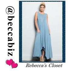 """SOPHISTICATION.  *HP 5/18* Prada blue draped maxi ****HOST PICK  5/18/16 BEST IN DRESSES AND SKIRTS by @frannyzfinds (Thank you!)****  Stand tall and be beautiful.   Soft, elegant, comfortable and easy to wear.  It is draped and would look great like it is or with a belt or scarf or even both. 95% rayon, 5% spandex.   Variable length front to back 43""""-54"""".  Made in the USA.  NO TRADES.  10% off bundles of 2 - want 3 of anything -higher discount ( great jewelry pairings available) Boutique…"""