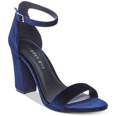 Madden Girl Bella Two-Piece Block Heel Sandals ($49) ❤ liked on Polyvore featuring shoes, sandals, navy velvet, block-heel sandals, evening sandals, block heel ankle strap sandals, dress sandals and block heel shoes