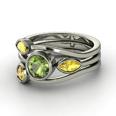 Vine Ring Set,   Round Green Tourmaline   Sterling Silver Ring  with Citrine  & Yellow Sapphire