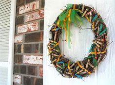 Crayon wreath. For the classroom closet door.