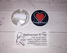 Ekg Stethoscope ID or retractable id reel - heart  teachers appreciation gift nurses gift Dr's gift coworkers gift chic / cute / preppy / fabric / patterned designed / coasters, lanyards, key fobs, reels, / computer mouse pads sets ideal for cubical, office, home decor / multi-patterned gifts for coworkers, students, teachers, medical, family, graduations, holidays / create your special coordinated designs