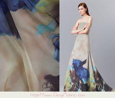 Designer floral pure silk Chiffon fabric,Summer fabric,Printed fashion silk Shawls & Scarves fabric,silk fabric by the yard,1m-XF43761524596