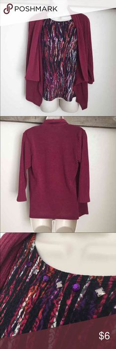 Maroon Red Two in One Shirt Sweater S Small sweater cardigan shirt combo, it is one shirt with the look of layers. Rhinestones around neck. Sag Harbor Tops Blouses