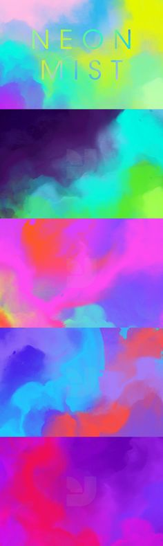Neon Mist - Eleven high resolution textures featuring painterly abstract shapes rendered in striking neon c...