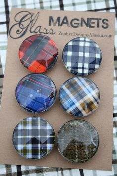 Glass Magnets  Perfectly Plaid by ZephyrDesignsAlaska on Etsy, $8.00