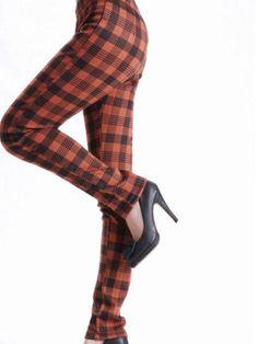 Slim fit elastic waist check skinny pants Skinny Jeans Style, Skinny Pants, Cheap Jeans, Korean Fashion, Elastic Waist, Stockings, Slim, Fitness, Check