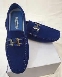 Mens giovanni shoes loafer fashion italian casual slip-on suede solid blue new Loafer Shoes, Loafers Men, Men's Shoes, Dress Shoes, Wing Shoes, Burberry Men, Gucci Men, Hermes Men, Versace Men