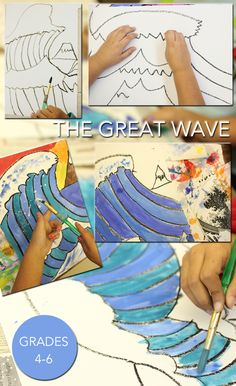 Based on the painting The Great Wave off Kanazawa by Katsushika Hokusai, kids draw and paint their own version of Mount Fuji and the great wave.