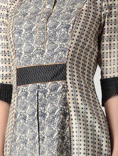 Beige-Black Printed Tussar Silk Kurta with Zari Top Stitch Salwar Designs, Kurti Neck Designs, Kurta Designs Women, Kurta Patterns, Dress Patterns, Dress Neck Designs, Blouse Designs, Clothes Crafts, Indian Designer Wear
