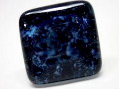 Anel de Vidro   AZUL  base n 20  ajustável   2,5 x 2,5 cm     Peça Exclusiva R$ 32,00