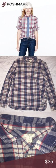 J. Crew Oversized Flannel Plaid Top Good condition, featuring navy blue, red and white. Plaid design, versatile and comfy! J. Crew Tops
