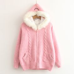 """Style:sweet+japanese,korean+fashion,cute+kawaii,sweater+coat,hooded+coat Clothing+placket:zipper Fabric+material:cotton+blend Color:beige,pink,light+blue,dark+blue  Size:one+size Bust:100cm/39.37"""" Shoulder:38cm/14.96"""" Sleeve+length:49cm/19.29"""" Length:61cm/24.01"""" Weight:0.84kg  Tips: ..."""