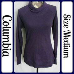"""Sz Med, Columbia LS Sportswear Thermal Top Dark Pruple, Columbia Sportswear, Omni-wick, Advanced Evaporation...Excellent Condition... 100%Cotton   Measurements, flat and not stretched   Chest - 18"""" across from underarm to underarm   Length - 23"""" (T58) Columbia Tops Tees - Long Sleeve"""