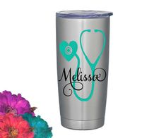 Personalized Nursing // medical professional coffee thermos 20 oz silver stainless steel vacuum insulated tumbler cup ____________________________________________________________________ ♥ 20 oz Matte Black tumbler ♥ Push on lid ♥ Vacuum Insulated ♥ Please do not microwave ♥ Hand wash ♥ Made with high quality outdoor grade permanent vinyl. ♥ Please do not pick or scratch at the design. ♥ Stainless Steel ____________________________________________________________________ PLEASE ADD THE…