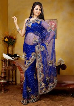 Royal Blue color Georgette Saree