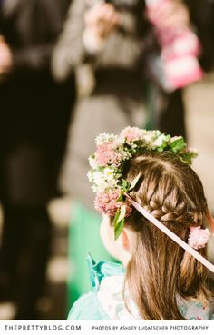 Flower girl hairstyle   Flowers in her hair   Photographer: Ashley Ludaesher Photograpy