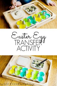 Easter Transfer Activity Scoop and pour materials into plastic eggs in this fun fine-motor Easter activity for preschool, pre-k, and kindergarten. Easter Activities For Preschool, April Preschool, Spring Activities, Montessori Activities, Art Activities, Easter Snacks, Easter Desserts, Easter Recipes, Early Childhood Activities