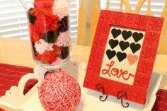 Framed Heart Art Centerpiece w/ yarn pom poms