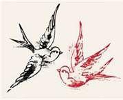 Bird tattoo / sister tattoo.... Red for me (Robin) & black for sister (Raven)