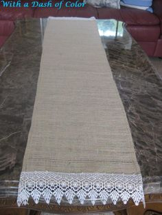 burlap runner for dresser ~ for master bedroom. Love the lace and serene mood it evokes.
