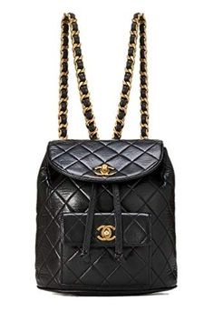 4faa229fa9fb CHANEL Black Quilted Lambskin Backpack (Pre-Owned)