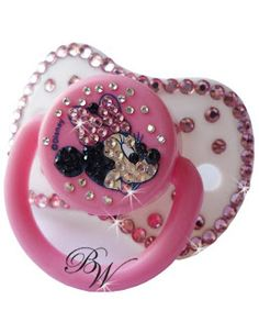 スワロフスキー Swarovski Things: CRYSTALLIZED™ -Swarovski Elements Baby pink bowknot pacifier Disney brand Minie Design