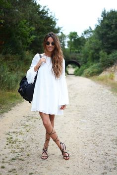 693f877180123 Gladiator Sandals | stellawantstodie Street Style Inspiration, Style Ideas,  White Shift Dresses, White