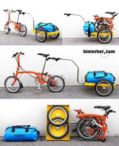 A Brompton with Hinterher-biketrailer mini from munich/germany. For more great pics, follow www.bikeengines.com