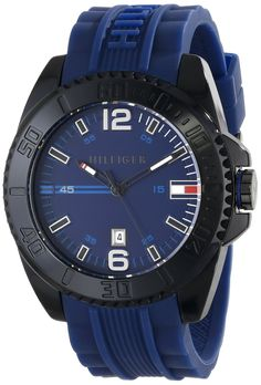 Tommy Hilfiger Men's 1791040 Black Resin Watch with Blue Silicone Band >>> More info could be found at the image url.