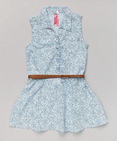 This Light Wash Denim Damask Belted Dress - Girls by Cutie Patootie is perfect! #zulilyfinds