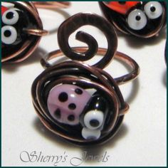 Ladybug Adjustable Ring - Pink Lampwork Lady Bug and Copper