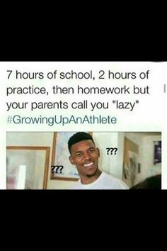 I'm not an athlete but I thought this was funny because my parents call me lazy all the time lol Volleyball Jokes, Softball Quotes, Sport Quotes, True Quotes, Soccer Memes, Basketball Funny, Gymnastics Funny, Play Volleyball, Football Humor