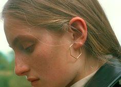 Hexagonal gold hoop earrings