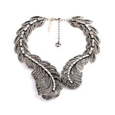 Kaariag Punkin® Crystal Vintage Style Feather Choker Necklace