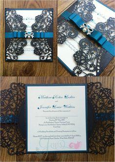Laser Cut Invitation with Ribbon and Medium Embellishment
