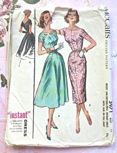 McCalls 3971  Vintage 1950s Womens Dress Pattern with by Fragolina, $20.00