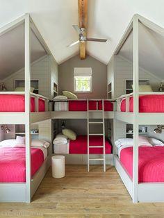 Bunk Bed Rooms, Bunk Beds Built In, Bedrooms, Room Design Bedroom, Bedroom Decor, Dream Home Design, House Design, Bunk Bed Designs, Dream Rooms