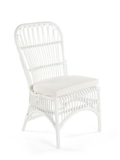 Rattan Loop Side Chair with Seat Cushion, Natural Color, Set of 2 Chai