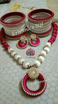 Beautiful Necklace with silk thread ...